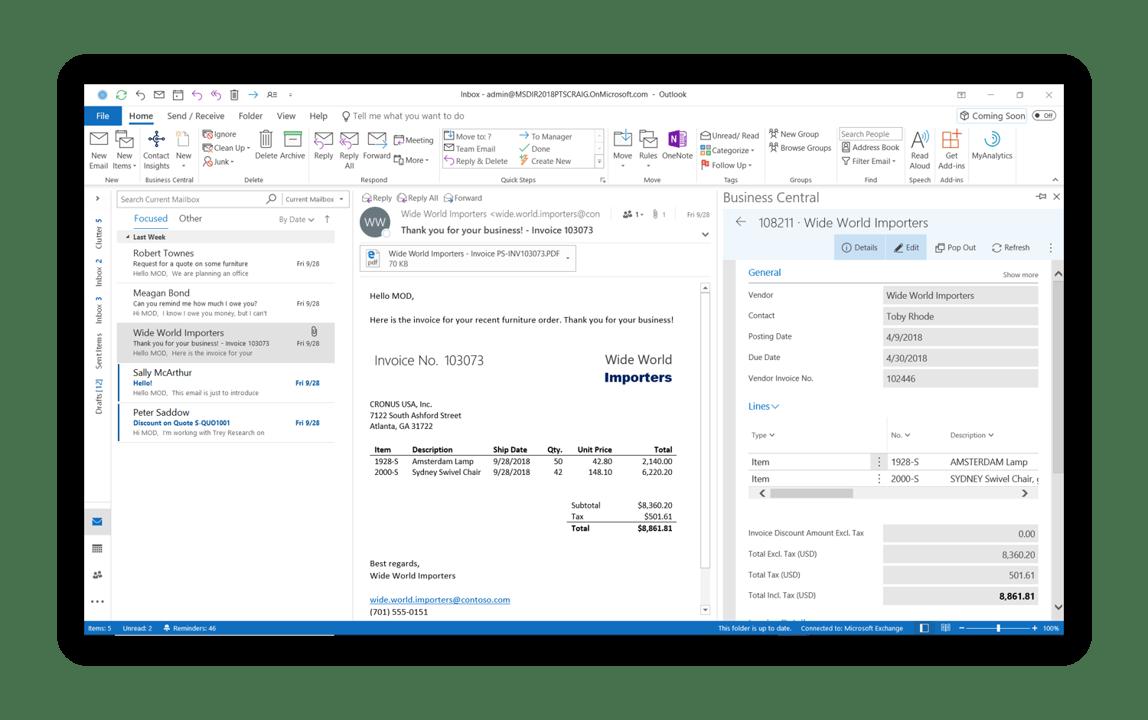 Outlook intergratie met Business Central